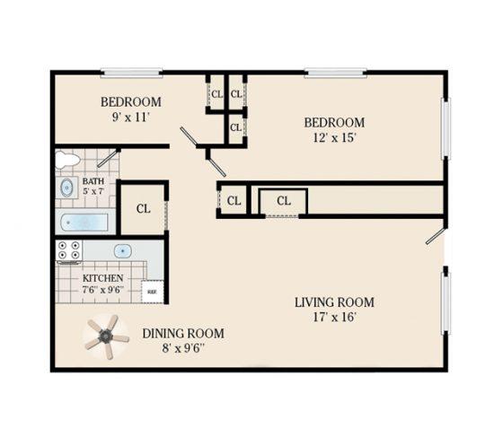 2 Bedroom 1 Bathroom. 800 sq. ft.